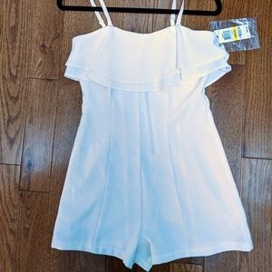 NWT White romper with drop shoulder